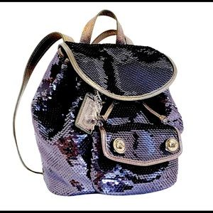 COACH poppy sequin backpack/Midnight Blue